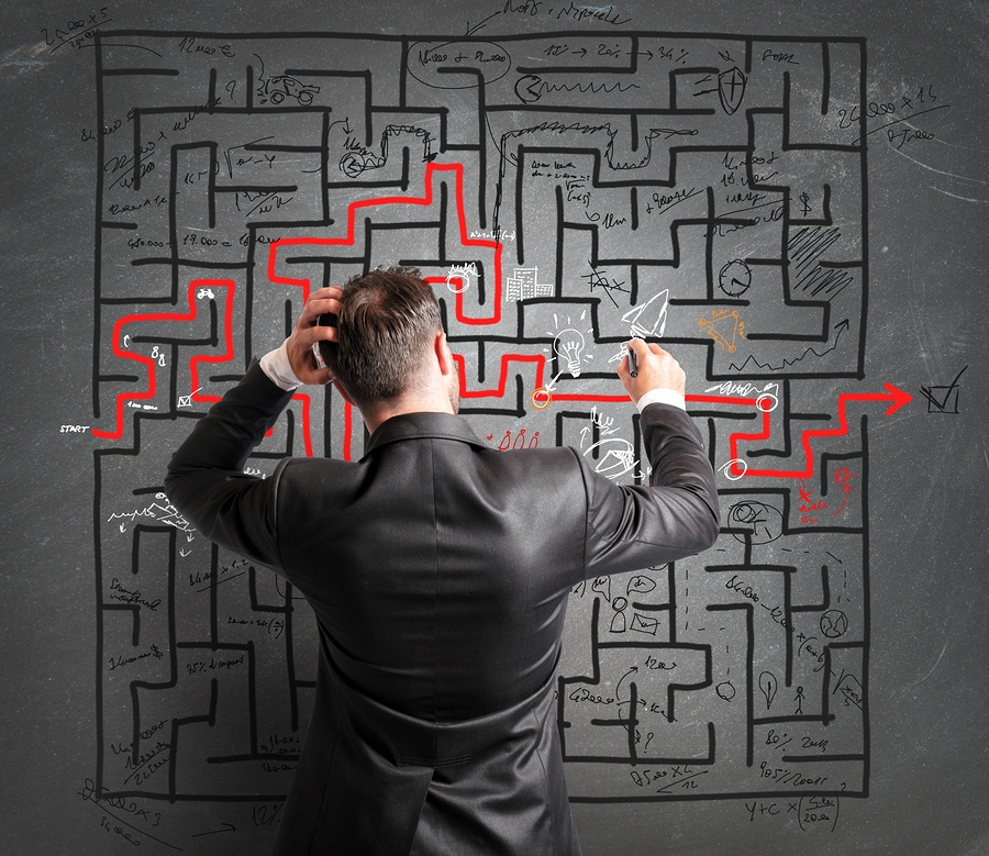 Concept of problem and confusion of a businessman